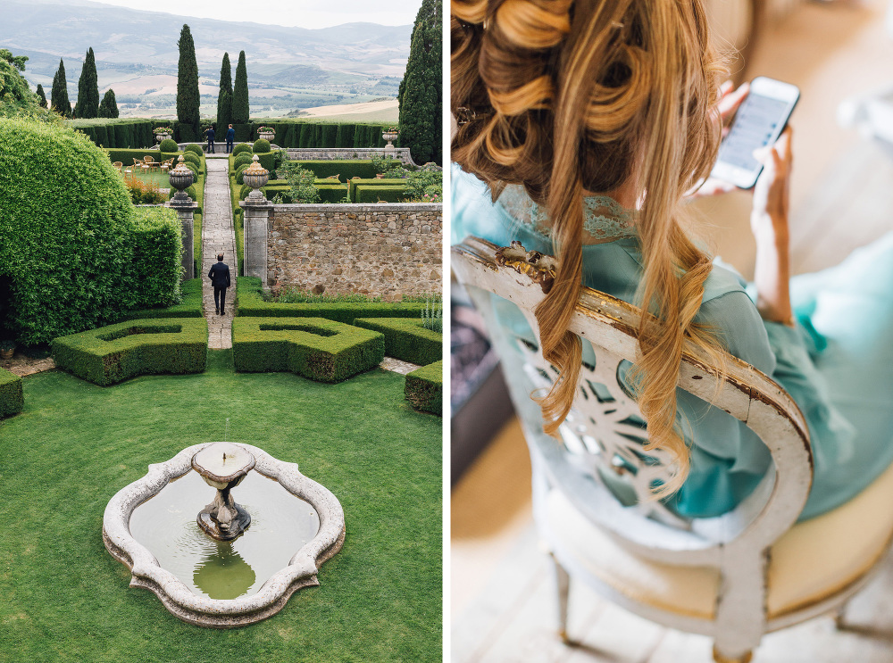 wedding photographer destination tuscany italy villa la Foce photo garde